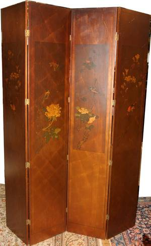 112400 CHINESE WOOD FOUR PANEL SCREEN H 80 W 64