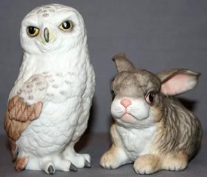 110404 BOEHM PORCELAIN FIGURES OF AN OWL  A RABBIT