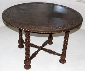 121482 ENGLISH OAK BARLEY TWIST TABLE H 28 DIA 44