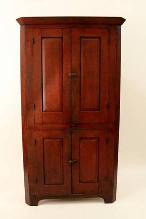 Primitive 19th C Painted Corner Cabinet