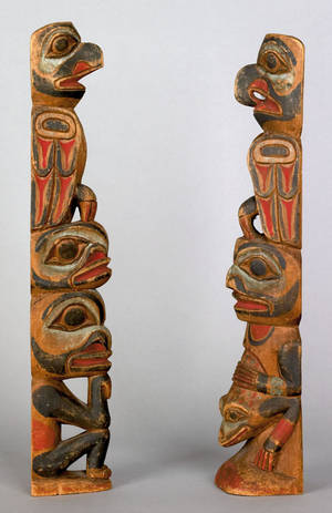 Two Northwest coast carved and painted totem poles ca 1900