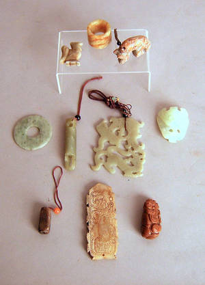 Ten pcs of contemporary carved jade