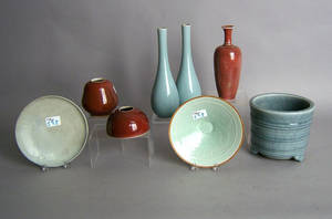 Eight pcs of contemporary Chinese pottery