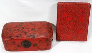 122436 CHINESE RED LACQUER  CINNABAR BOXES 19TH C