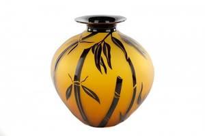 Correia Art Glass Amber and Black Bamboo Vase