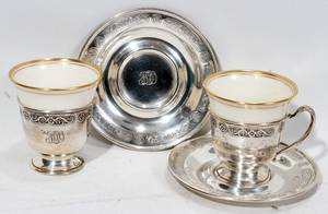 121530 STERLING  LENOX PORCELAIN DEMITASSE CUPS