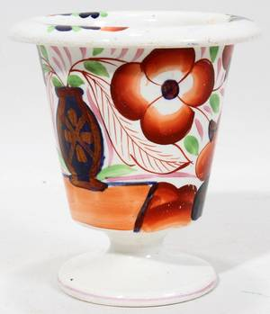 121512 STAFFORDSHIRE VASE GAUDY DUTCH STYLE 19TH C