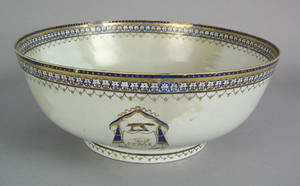 Chinese export porcelain punch bowl late 18th c