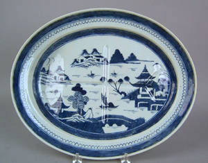Canton oval well and tree meat platter early 19th c