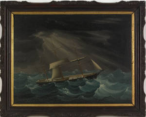 China trade oil on canvas painting depicting a ship in a storm 19th c
