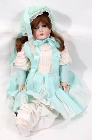 121586 GERMAN BISQUEHEAD DOLL CHILD SIZE C 1900