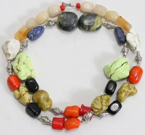 120517 CORAL TURQUOISE  BANANA JADE NECKLACE L 32
