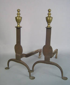 Pair of wrought iron knife blade andirons late 18th c