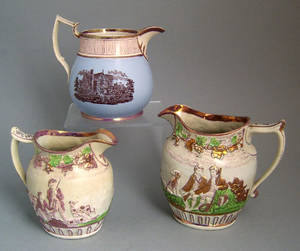 Two luster pitchers 19th c
