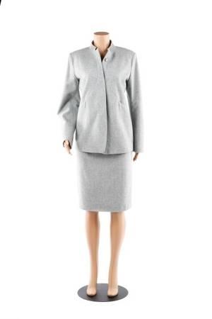 Jil Sander Architectural Gray Wool Skirt Suit