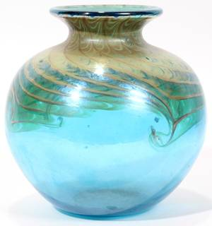 122489 CONTEMPORARY ART GLASS VASE H 4 34