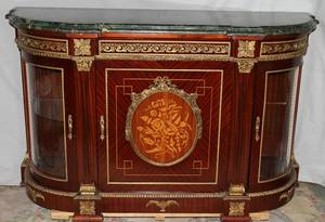 120512 FRENCH MARQUETRY MARBLE TOP COMMODE H 44