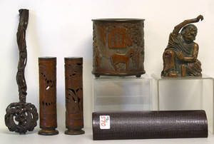 Six pcs of Chinese carved bamboo articles