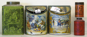 Pair of lithograph decorated tins