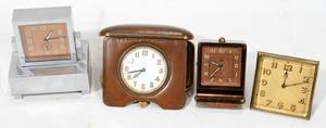 121604 ART DECO ERA BOUDOIR  TRAVEL CLOCKS 4 PCS