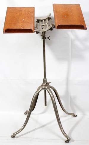 120577 OAK  METAL DICTIONARY STAND H 30 W 20