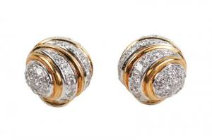 18k Two Tone Gold  Diamond Earrings
