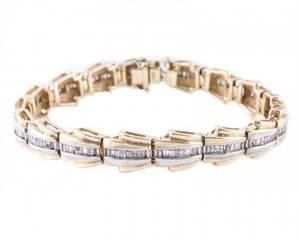 Ladies 14k Yellow Gold  Diamond Link Bracelet