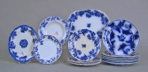 Fifteen pcs of flow blue china