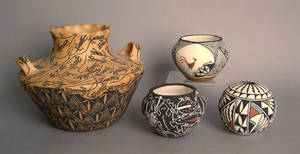 Four pcs of contemporary Acoma pottery