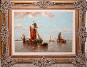 122005 AUGUSTE HENRI MUSIN OIL SAILBOATS IN HARBOR