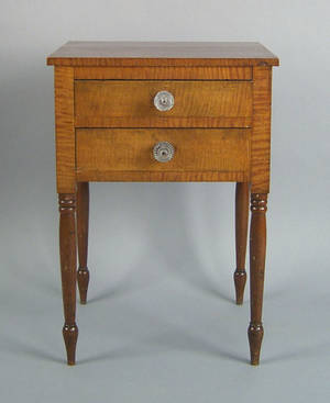 Pennsylvania Sheraton tiger maple and cherry work table ca 1834