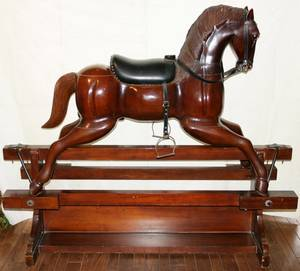 120004 CARVED WOOD ROCKING HORSE 20TH C H 53 W 20