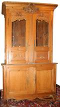 112011 CARVED OAK COUNTRY FRENCH CABINET 19TH C