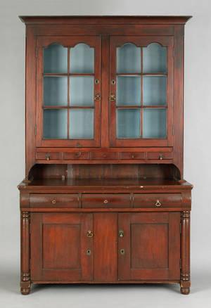 Pennsylvania poplar twopart Dutch cupboard ca 1830