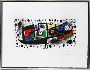 122040 JOAN MIRO COLOR LITHOGRAPH 1970 9 X 18