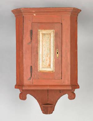Lancaster or Berks County Pennsylvania painted pine hanging corner cupboard late 18th c