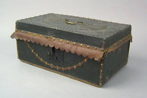 New York leather covered lock box 19th c