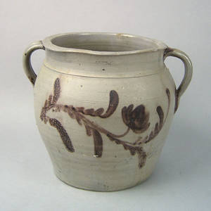 Pennsylvania stoneware two handled crock 19th c