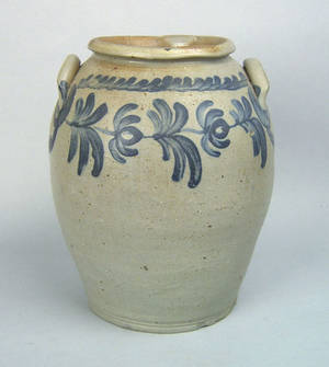 Pennsylvania ovoid stoneware crock 19th c