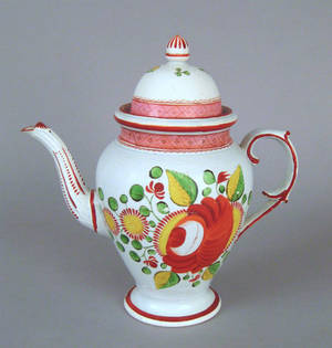 Kings rose pearlware coffee pot 19th c