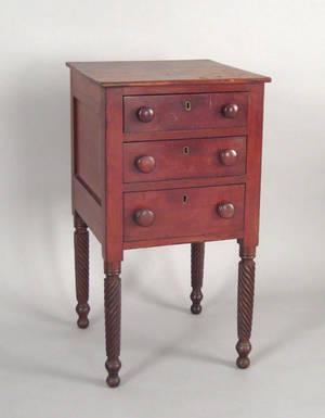 Pennsylvania Sheraton cherry work stand ca 1825