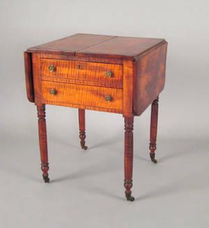 Pennsylvania Sheraton tiger maple work stand ca 1825