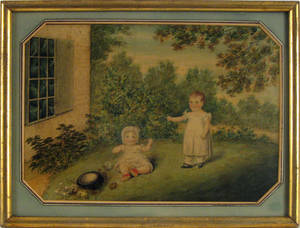 Watercolor scene of 2 young children playing in a garden early 19th c
