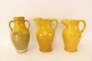 Three Yellow Glazed Ceramic Vessels