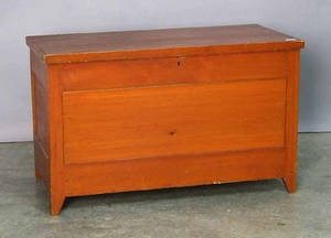 Pair of red stained Pennsylvania blanket chests