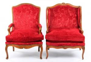 Two French Louis XV Style Elm Armchairs 19th C