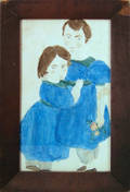 Massachusetts watercolor portrait of a young boy and girl
