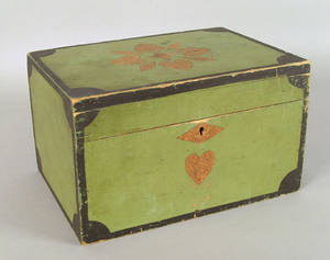 New England painted pine dresser box 19th c