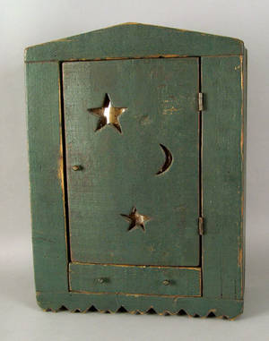 Painted pine hanging wall box 19th c