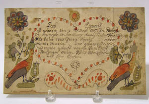 Pennsylvania ink and watercolor fraktur dated 1802